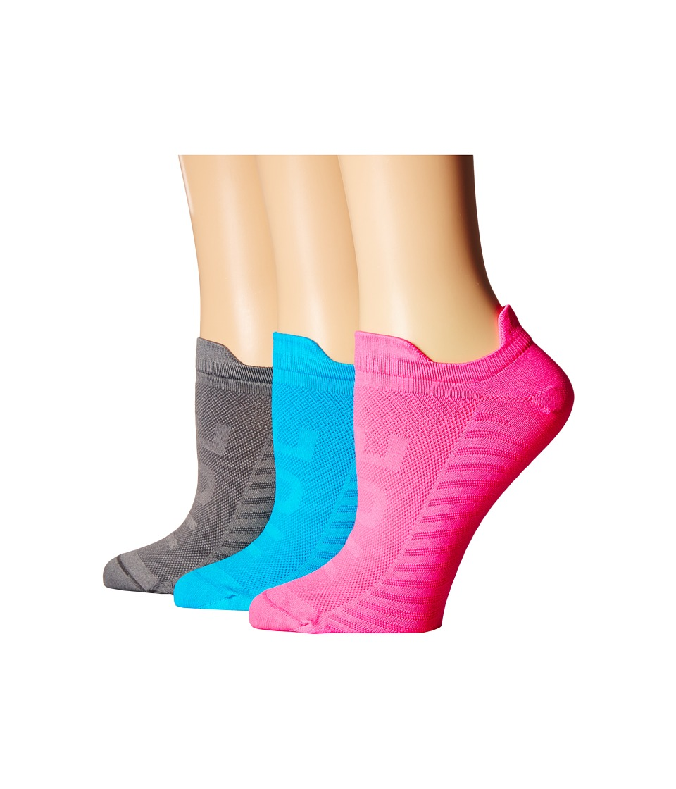 HUE - Air Sleek Front Back Tab 3 Pack (Neon Pink Pack) Women's No Show Socks Shoes