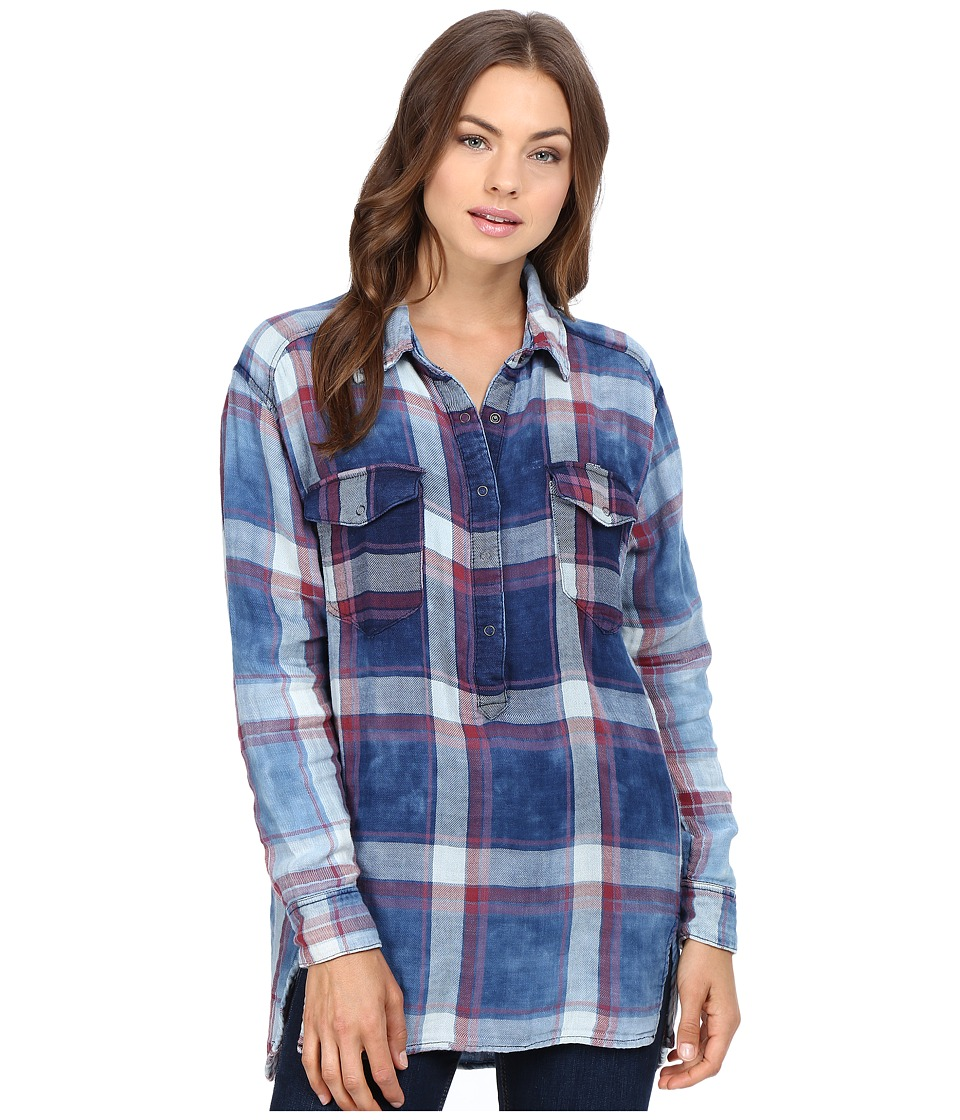 Blank NYC - Plaid Shirt in Jitney (Blue/White/Red) Women's Clothing