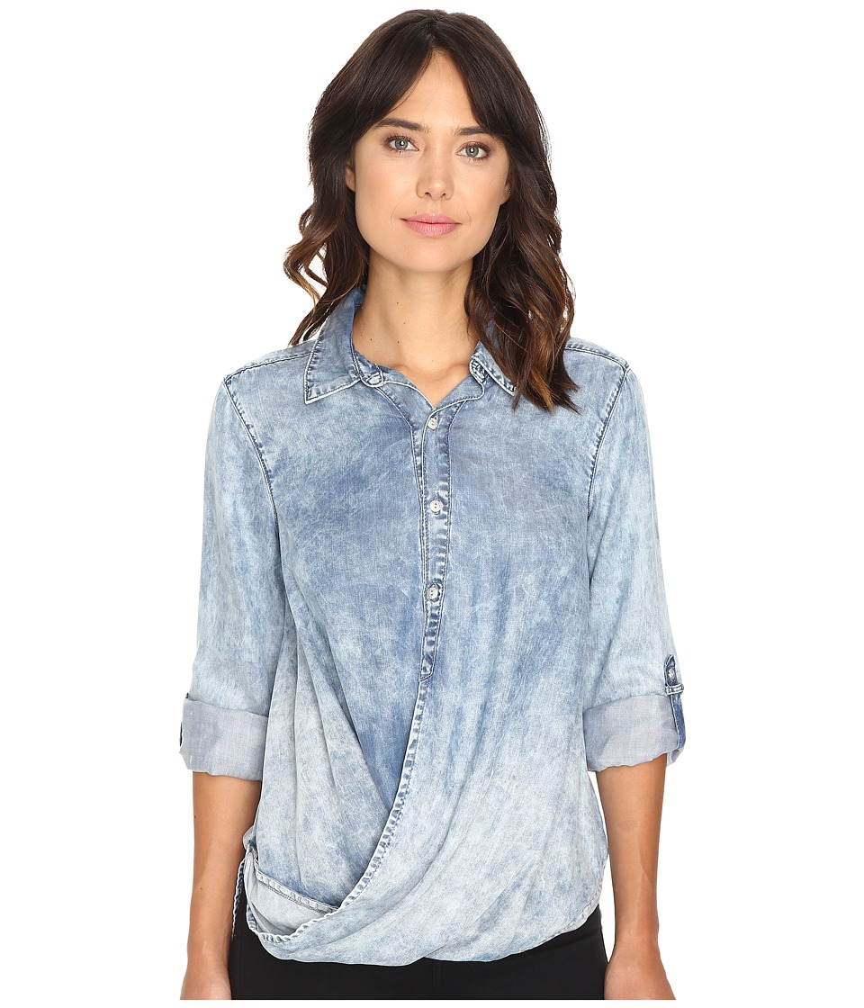Blank NYC - Denim Drape Front Shirt in Glamper (Blue) Women's Clothing