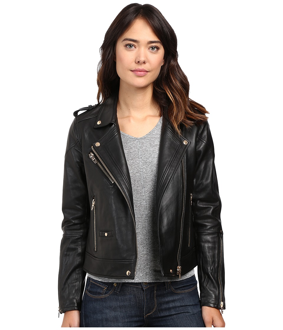 Blank NYC - Real Leather Moto Jacket in The One (Black) Women's Coat