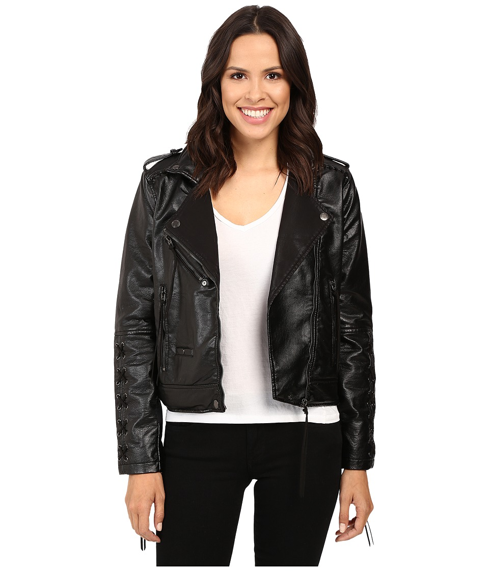 Blank NYC - Vegan Leather Lace-Up Jacket in Sweet Talk (Black) Women's Coat
