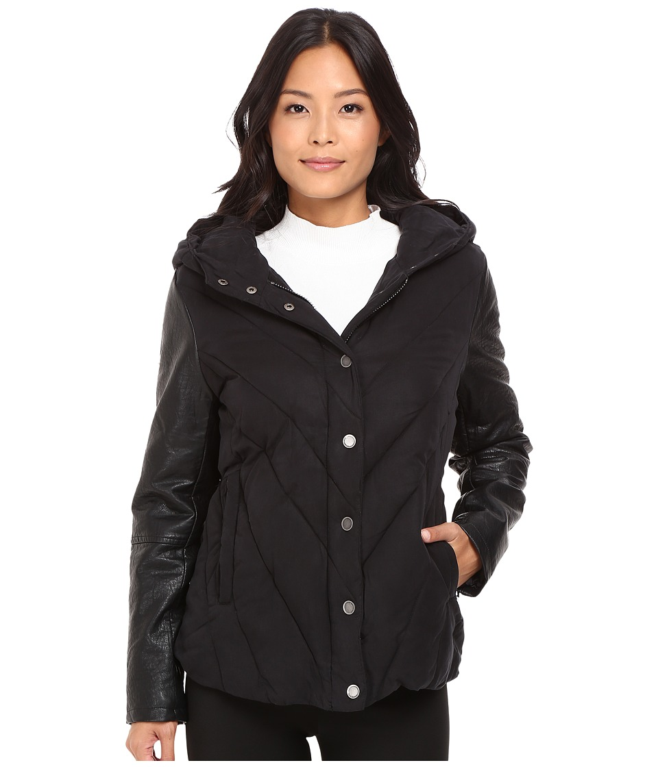 Blank NYC - Puffy Jacket with Hood in Bed Fellows (Black) Women's Coat