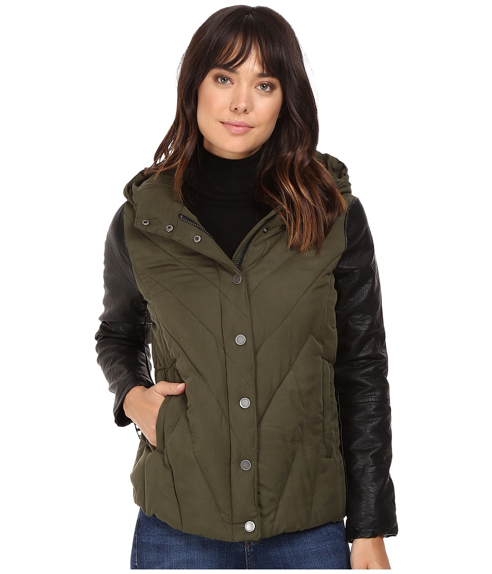 Blank NYC - Puffy Jacket with Hood in Face to Face (Green) Women's Coat