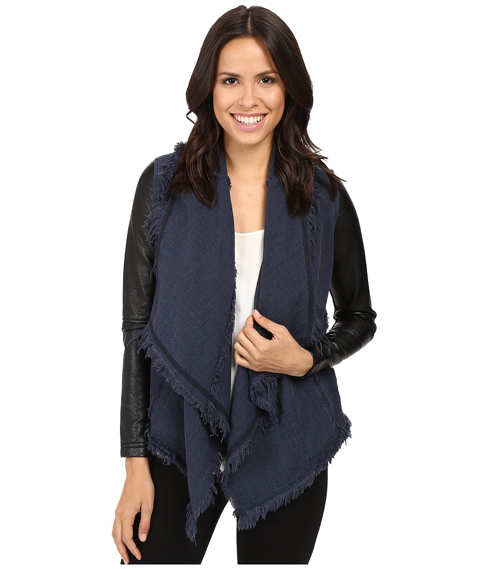 Blank NYC - Drape Front Jacket in Parking Space (Blue/Black) Women's Coat