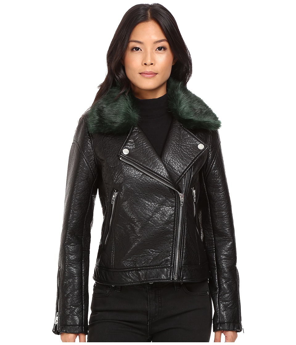 Blank NYC - Vegan Leather Removable Green Faux Fur Collar in Speaking Terms (Black/Green Faux Fur) Women's Clothing