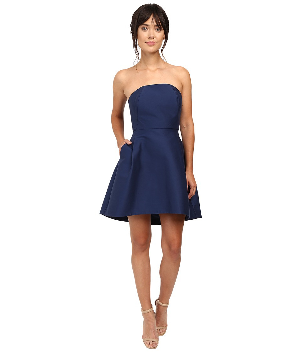 Halston Heritage - Strapless Structured Dress (Navy) Women's Dress