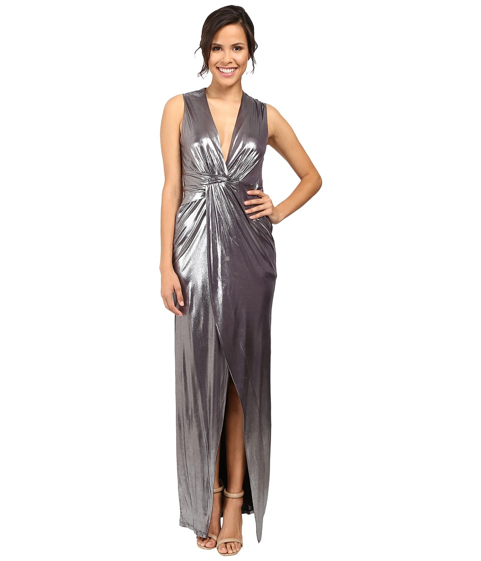 Halston Heritage - Front Twist Metallic Gown (Gunmetal) Women's Dress