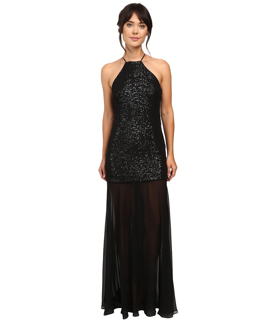 Halston Heritage Halter Sequin High-Low Gown (Black/Gunmetal) Women