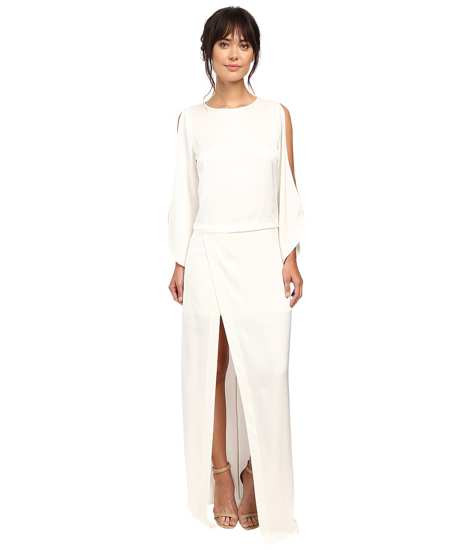 Halston Heritage Boat Neck Gown with High Slit Winter White Dress