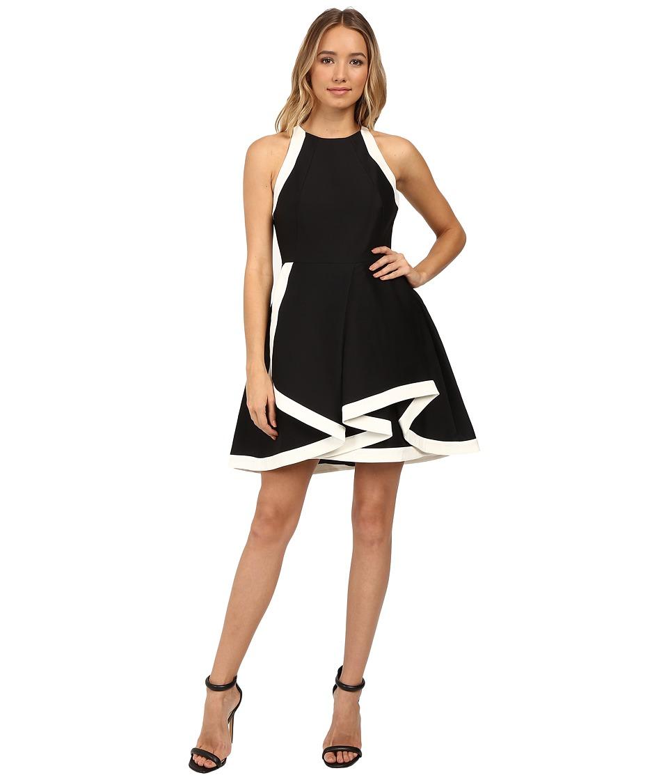 Halston Heritage Structured Dress with Tiered Skirt (Black/Chalk) Women