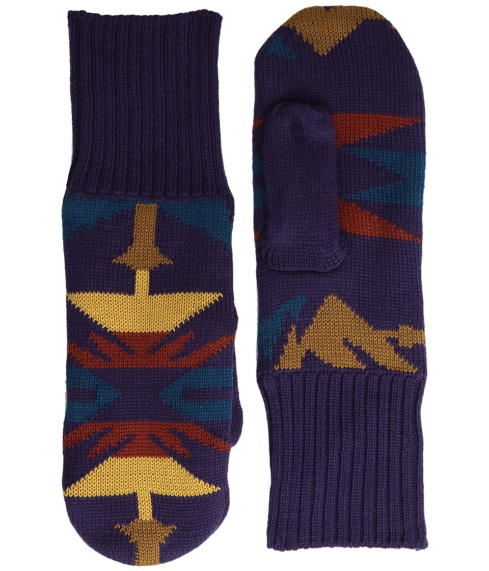 Pendleton - Fleece Lined Mittens (Echo Peaks Purple) Wool Gloves
