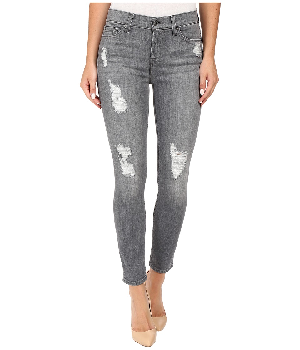 7 For All Mankind - The Ankle Skinny w/ Destroy in London Grey Skies (London Grey Skies) Women's Jeans