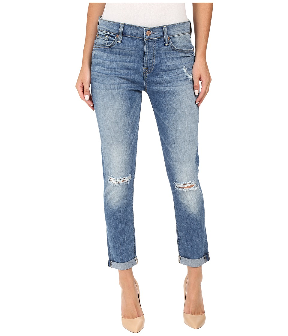 7 For All Mankind - Josefina w/ Destroy in Light Laurel (Light Laurel) Women's Jeans