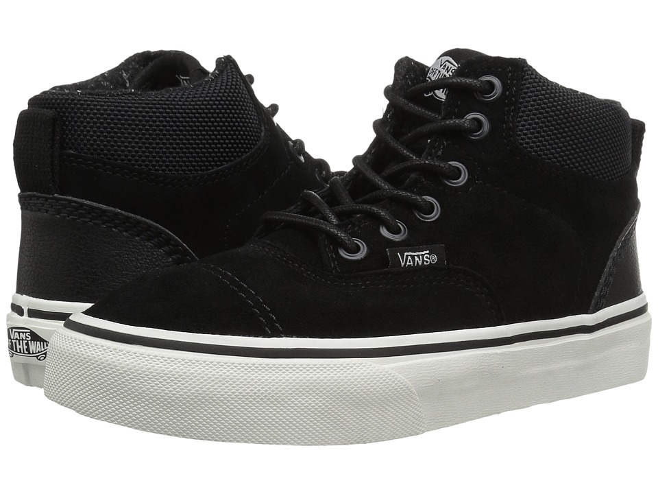 Vans Kids - Era-Hi (Little Kid/Big Kid) ((Suede) Black/Blanc De Blanc) Boys Shoes