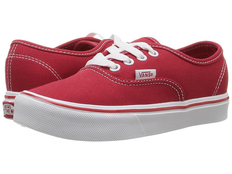 Vans Kids Authentic Lite (Little Kid/Big Kid) (Red/True White) Kids Shoes