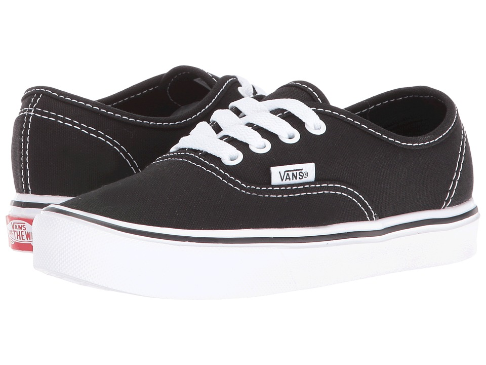 Vans Kids Authentic Lite (Little Kid/Big Kid) (Black/True White) Kids Shoes