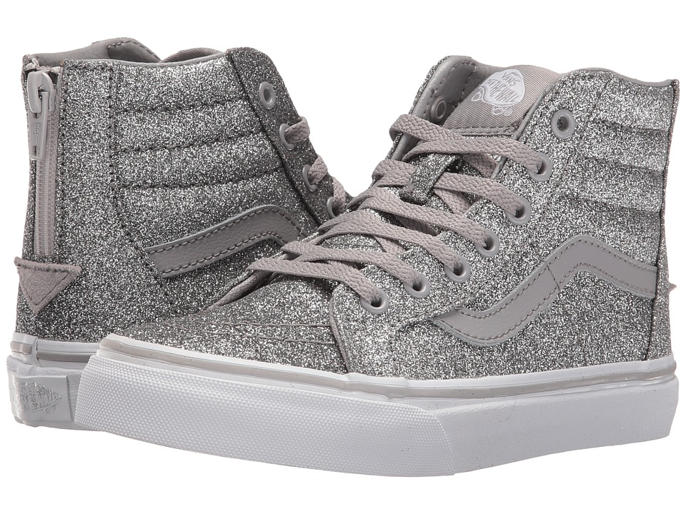 Vans Kids Sk8-Hi Zip (Little Kid/Big Kid) ((Shimmer) Silver) Girls Shoes