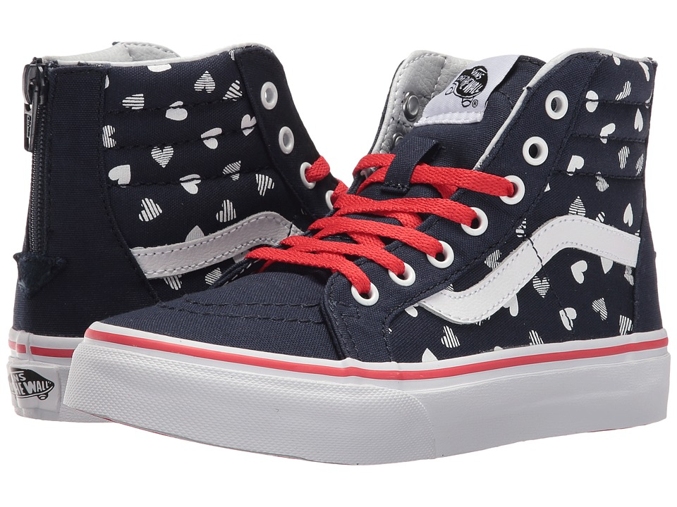 Vans Kids - Sk8-Hi Zip (Little Kid/Big Kid) ((Hearts) Dress Blues/True White) Girls Shoes