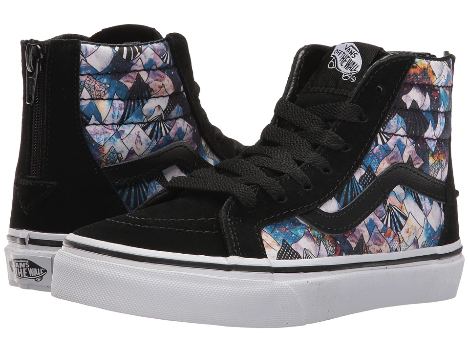 Vans Kids Sk8-Hi Zip (Little Kid/Big Kid) ((Nebula Mountain) Black/True White) Girls Shoes