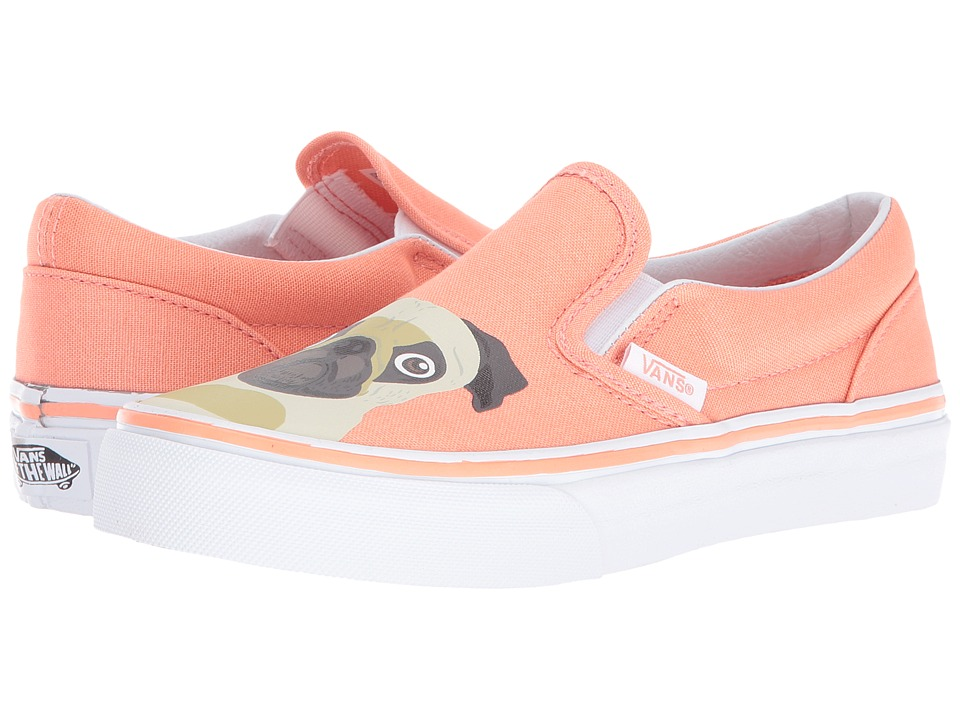Vans Kids - Classic Slip-On (Little Kid/Big Kid) ((Pug) Burnt Coral) Girls Shoes