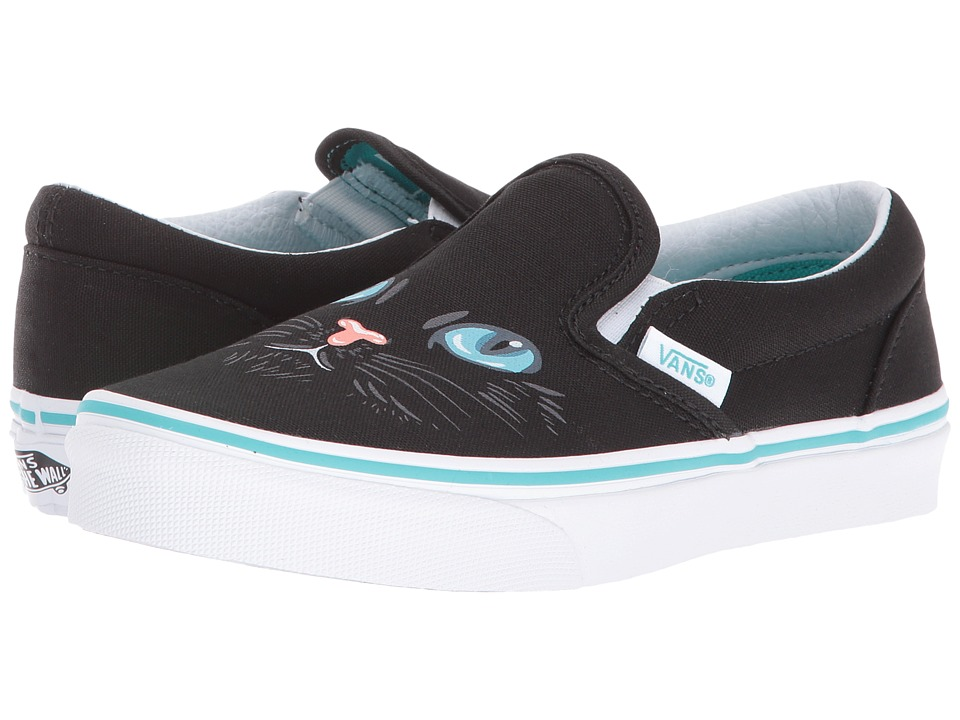 Vans Kids - Classic Slip-On (Little Kid/Big Kid) ((Cat) Black/True White) Girls Shoes
