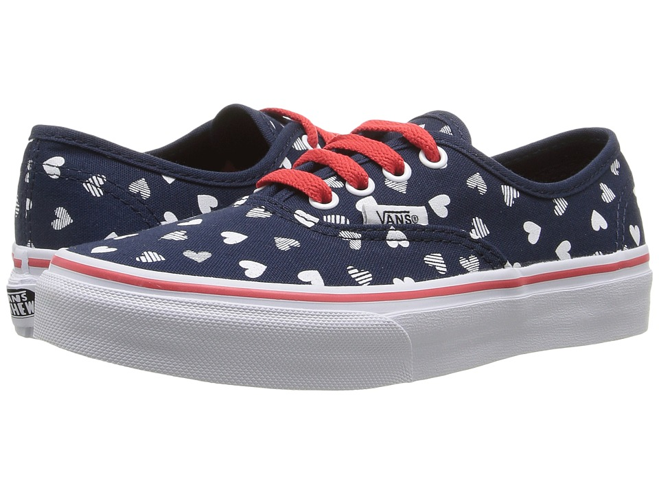 Vans Kids - Authentic (Little Kid/Big Kid) ((Hearts) Dress Blue/ True White) Girls Shoes