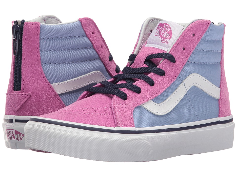 Vans Kids Sk8-Hi Zip (Little Kid/Big Kid) ((Pop) Bel Air Blue/Rosebud) Girls Shoes
