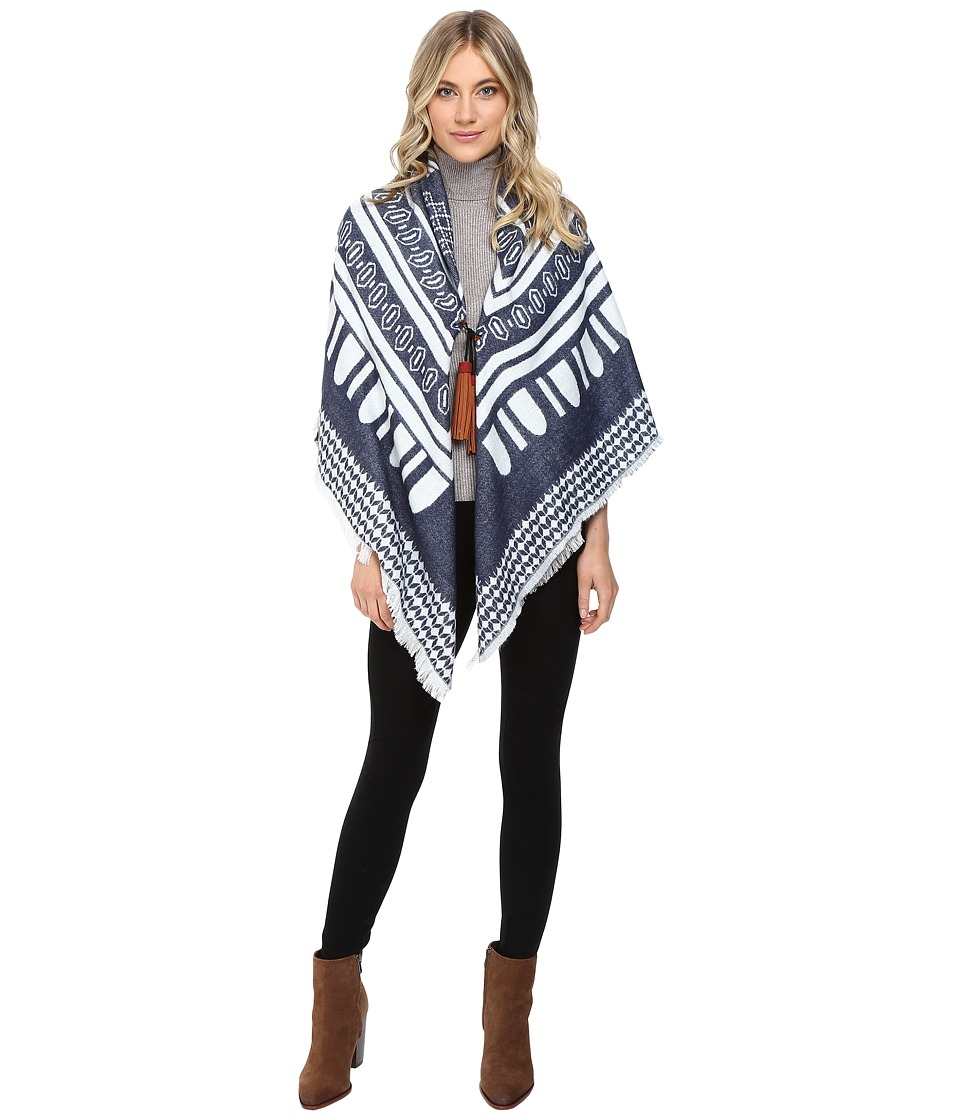 Echo Design - Border Square w/ Tassels (Navy) Women's Clothing