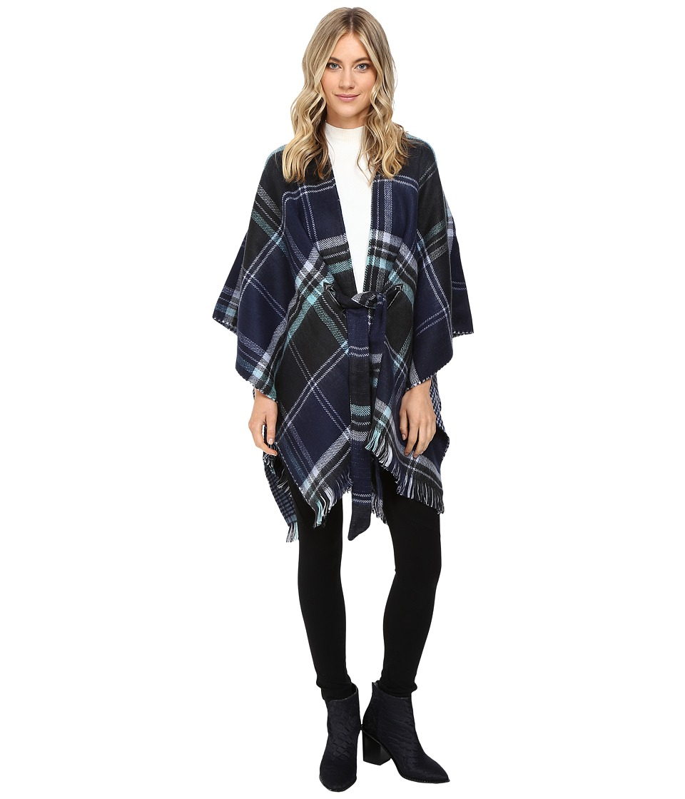 Echo Design - Reversible Plaid Cape (Navy) Women's Clothing