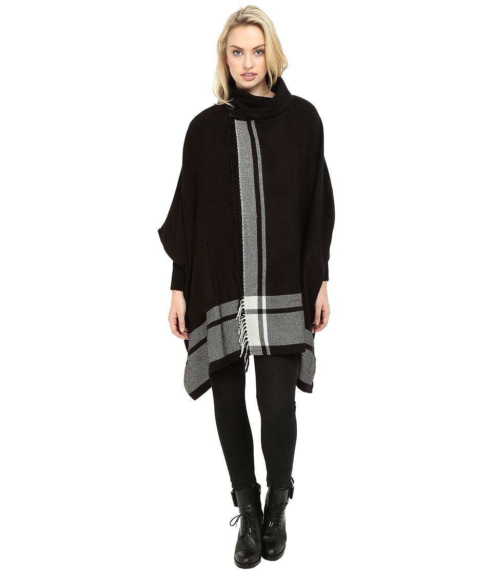 Echo Design - Shawl Collar Ruana (Black) Women's Clothing