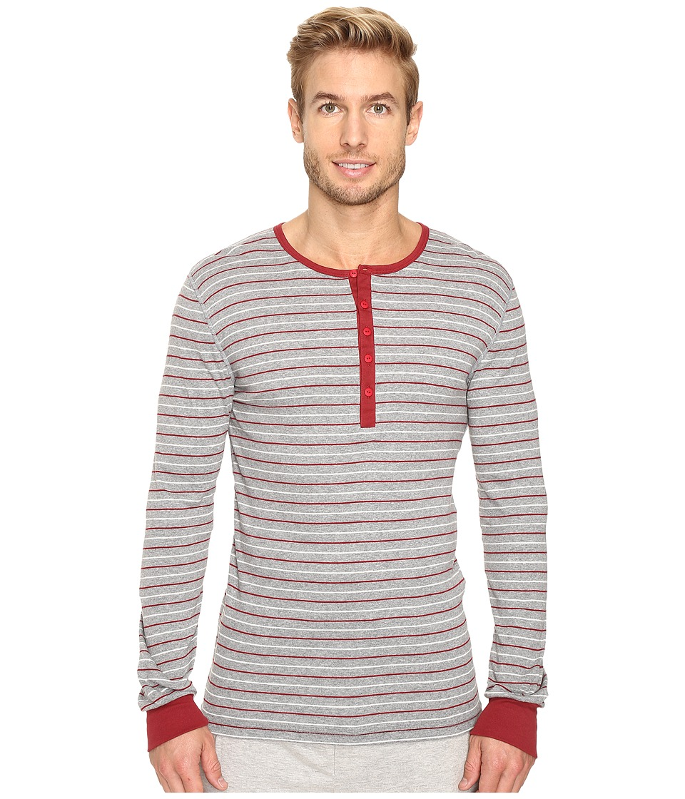 2(X)IST - Essentials L/S Henley (Heather Grey Yarn-Dye) Men's T Shirt