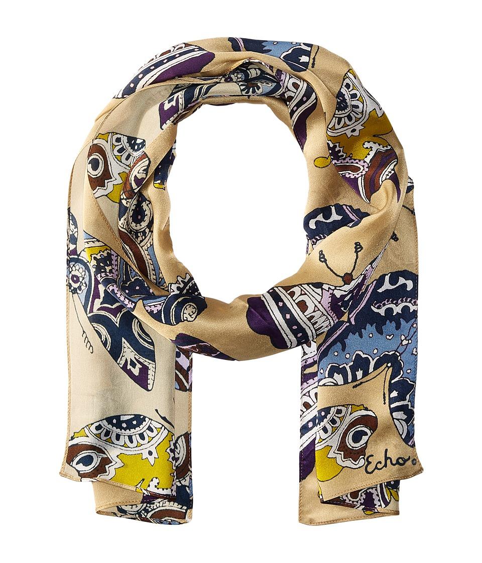 Echo Design - Paisley Butterflies Scarf (Khaki) Scarves
