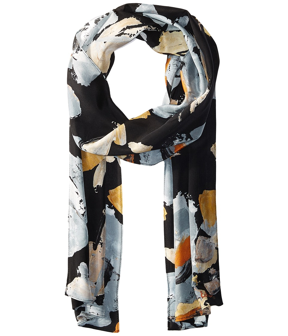 Echo Design - Winter Rose Silk Oblong (Black) Scarves