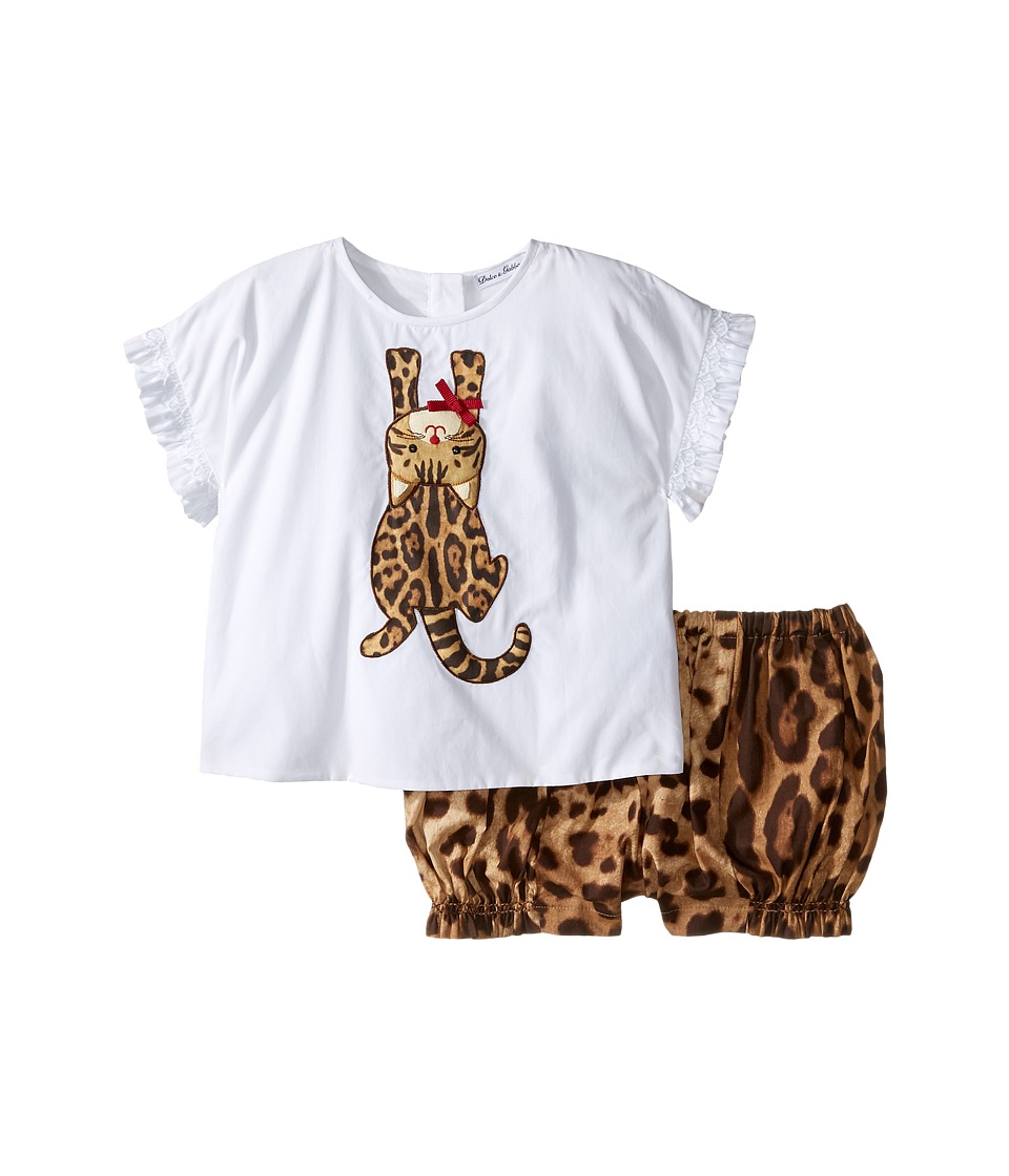 Dolce & Gabbana Kids - Zambia T-Shirt/Shorts One-Piece (Infant) (White Leopard Print) Girl's Suits Sets