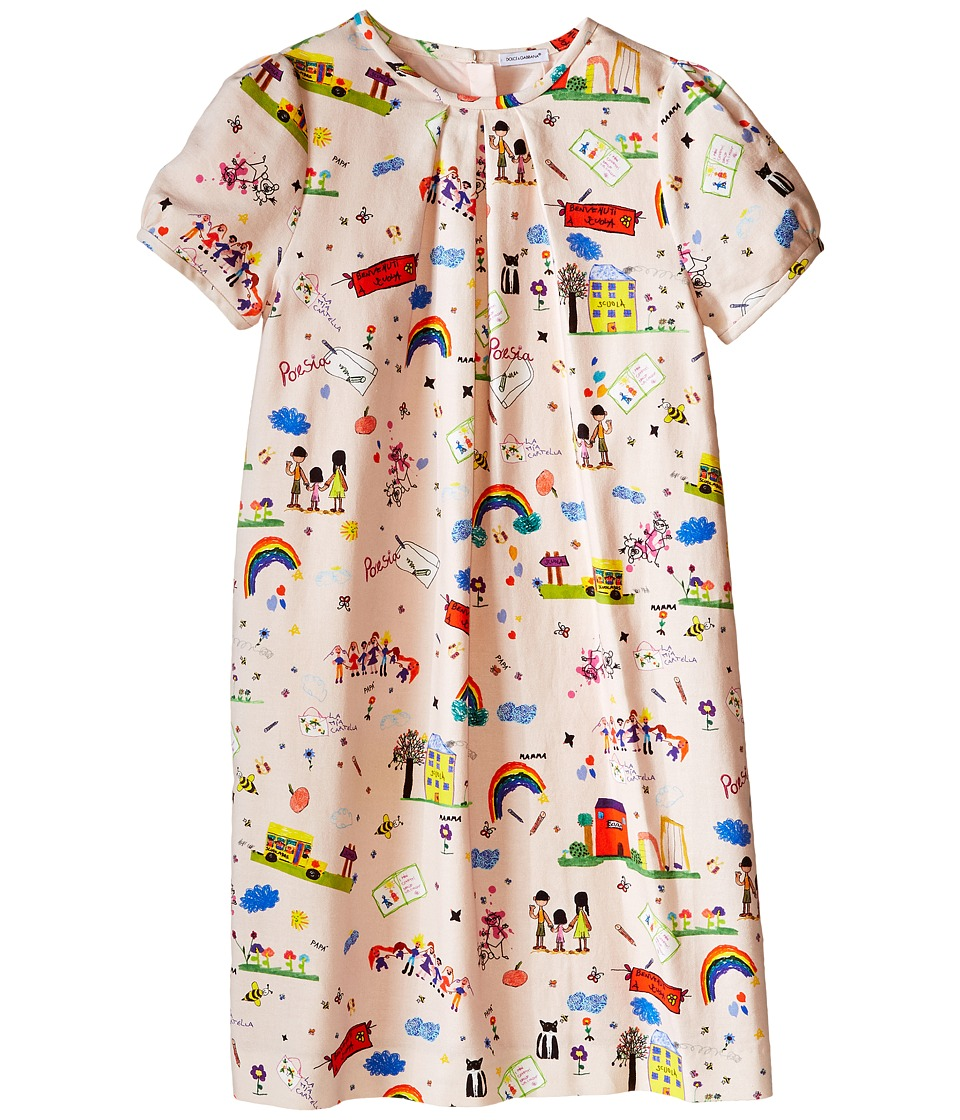 Dolce & Gabbana Kids - Back to School T-Shirt Dress (Big Kids) (Light Pink Print) Girl's Dress