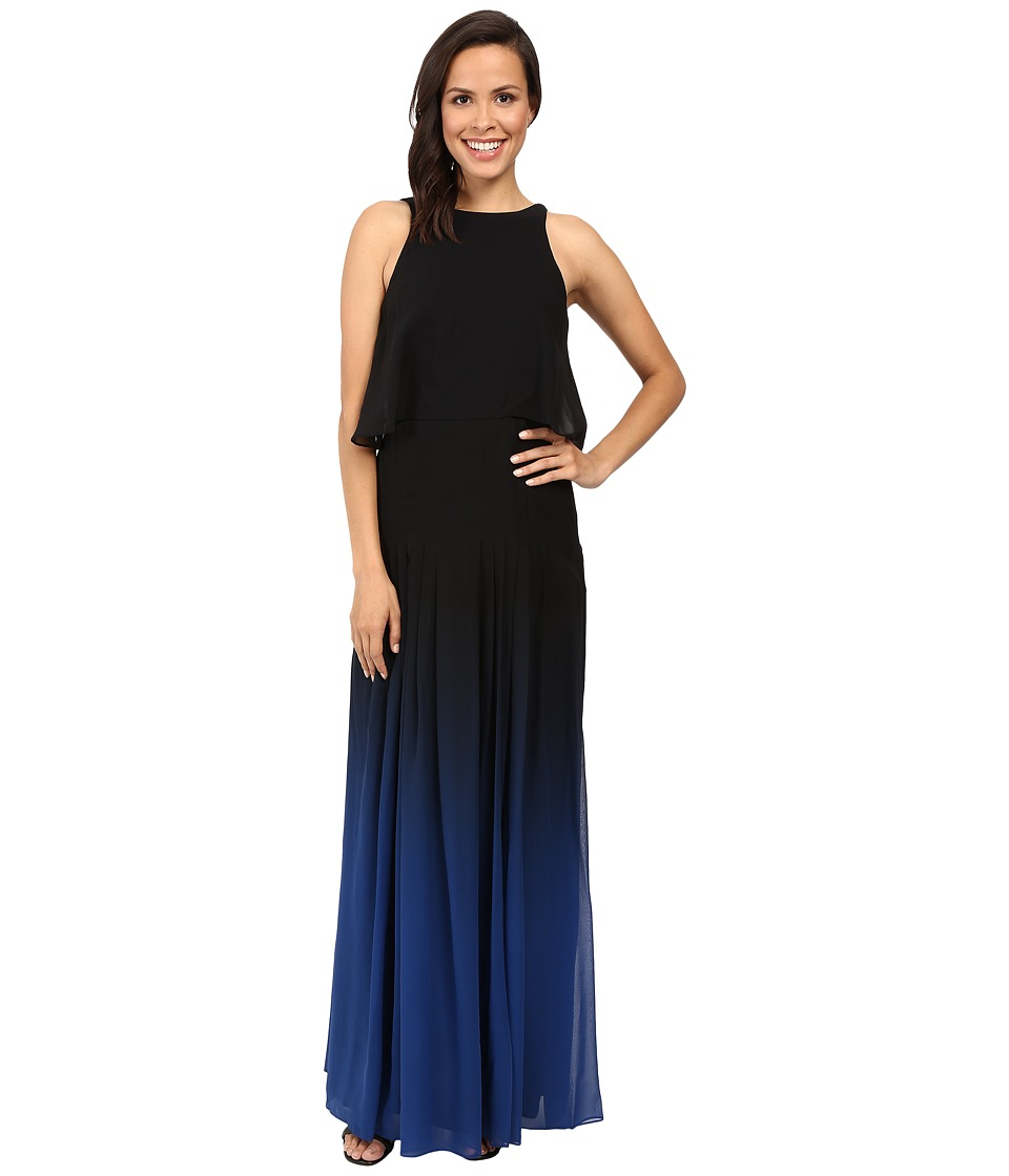 Halston Heritage Ombre Gown with Back Cut Out Black Ultramarine Dress