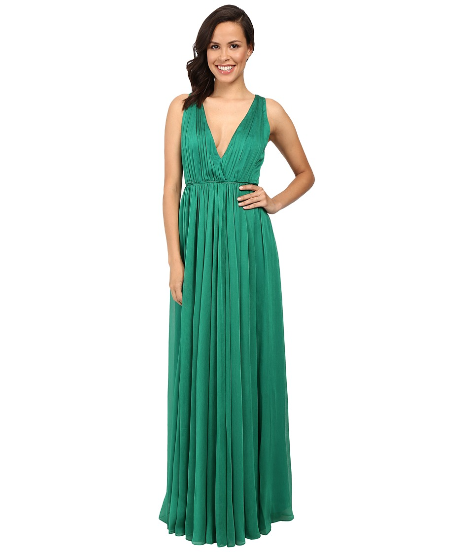 Halston Heritage - Chiffon V-Neck Gown (Emerald) Women's Dress