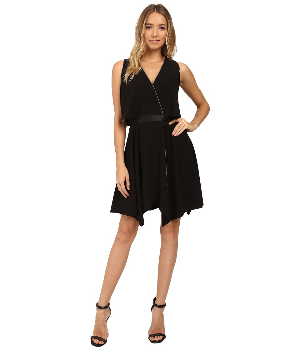 Halston Heritage - Faux Wrap with Deep V and Chain Piping (Black) Women's Dress