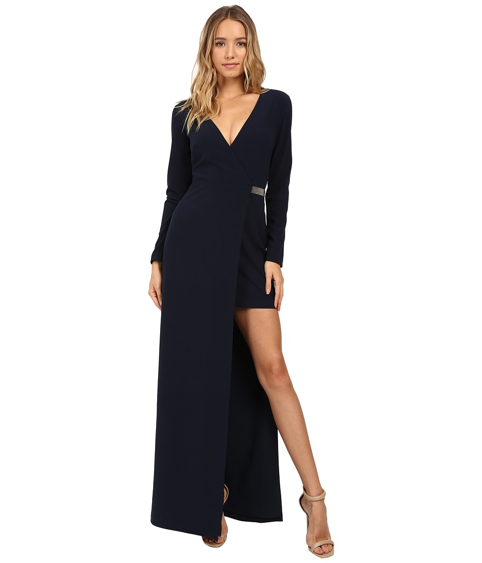 Halston Heritage - Long Sleeve Gown Asymmetrical Slit and Chain Detail (Navy) Women's Dress