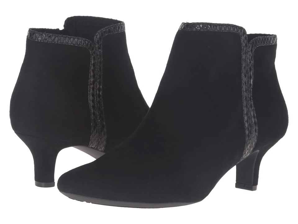 Rockport Kimly Bootie (Black Micro Suede) Women