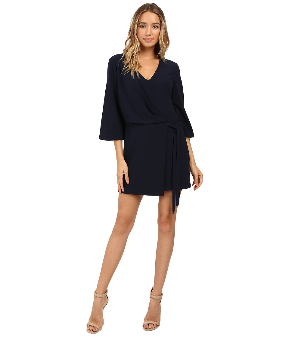 Halston Heritage - Overlay and Ties V-Neck Dress (Navy) Women's Dress