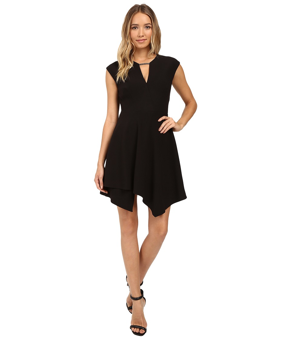 Halston Heritage - Mesh Chain Link Structured Dress (Black) Women's Dress