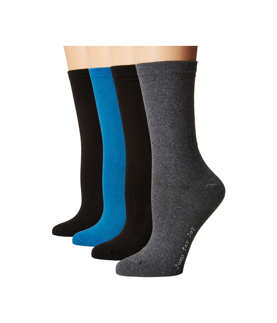 HUE - Flat Knit Socks w/ Pique Welt 4-Pack (Skylar Pack) Women's Crew Cut Socks Shoes