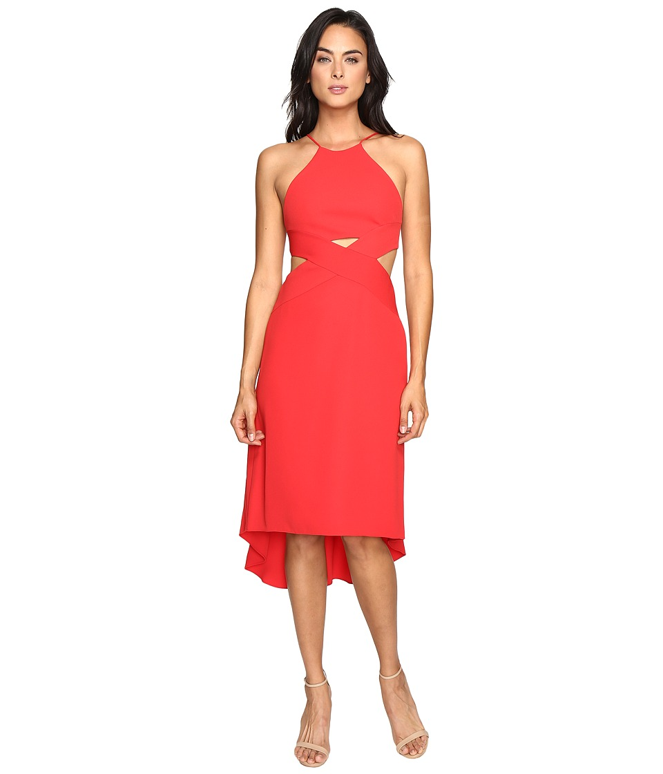 Halston Heritage Halter Dress with Cut Out Detail (Scarlet) Women
