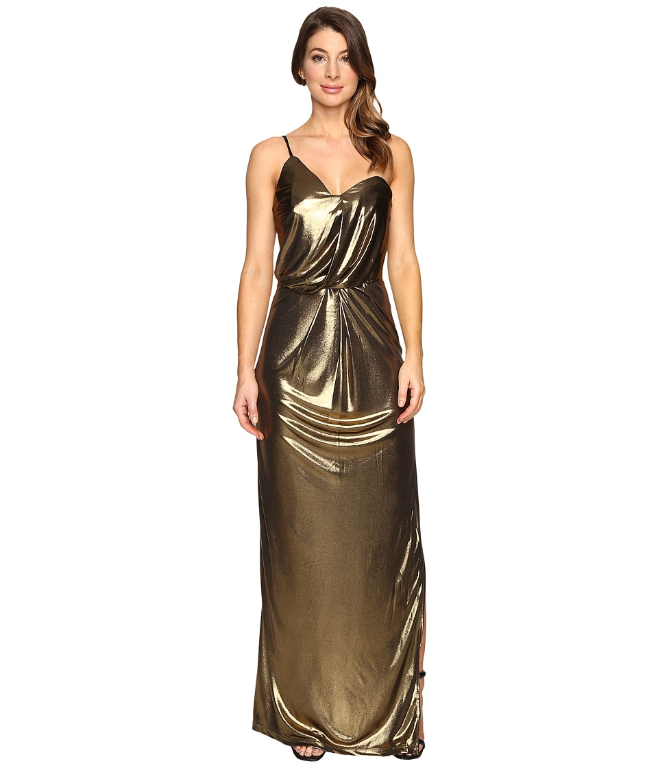 Halston Heritage - Asymmetrical Strap Metallic Jersey Gown (Bronze) Women's Dress