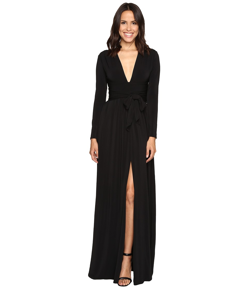 Halston Heritage - Long Sleeve Jersey Gown with Tie and Front Slit (Black) Women's Dress