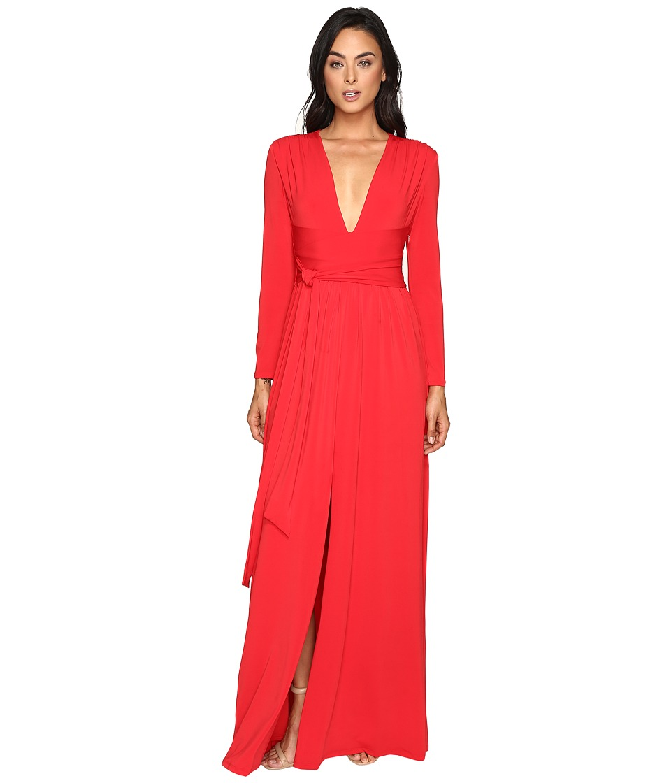 Halston Heritage - Long Sleeve Jersey Gown with Tie and Front Slit (Scarlet) Women's Dress