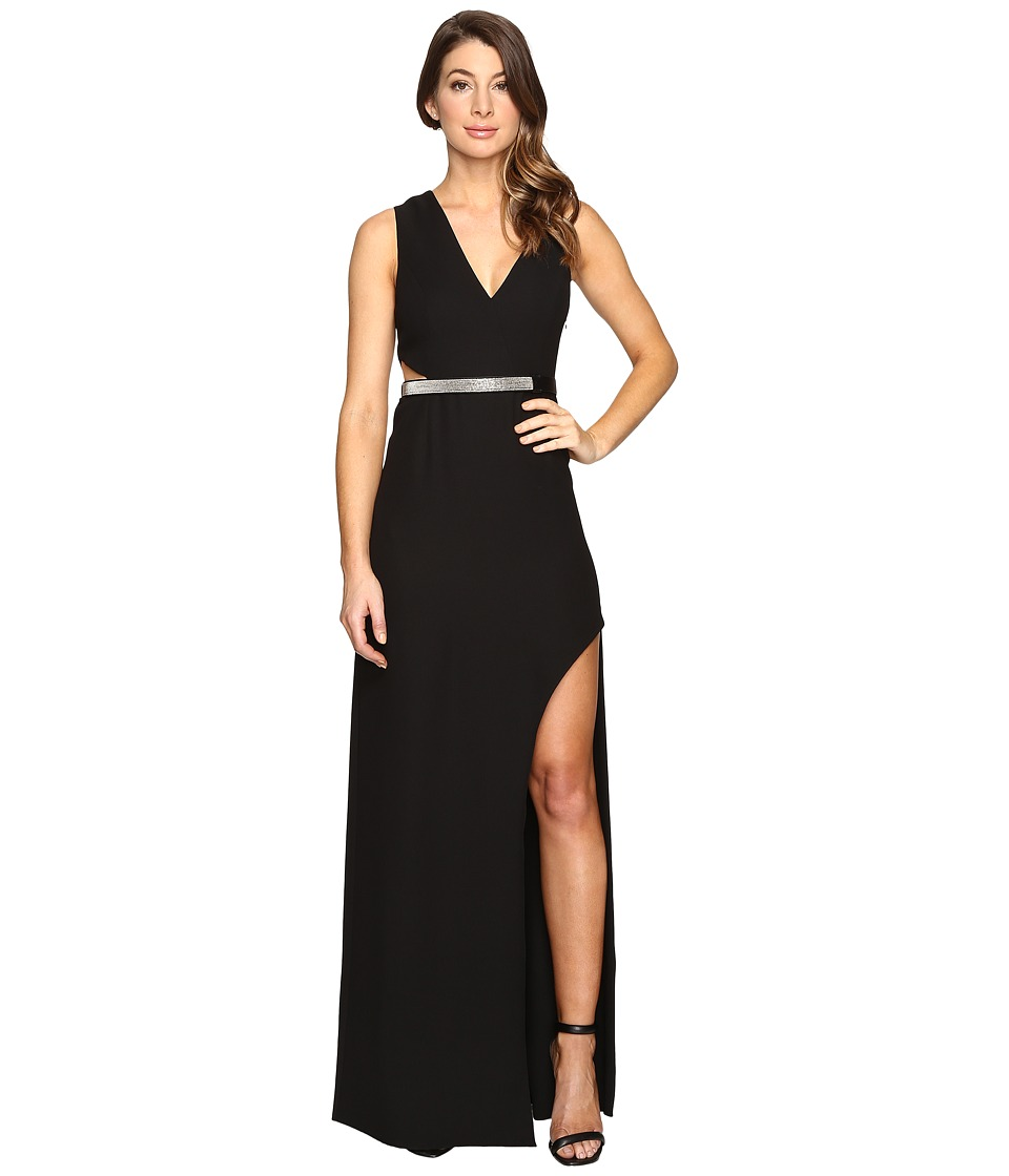Halston Heritage - High Slit with Multi Chain Strap (Black) Women's Dress