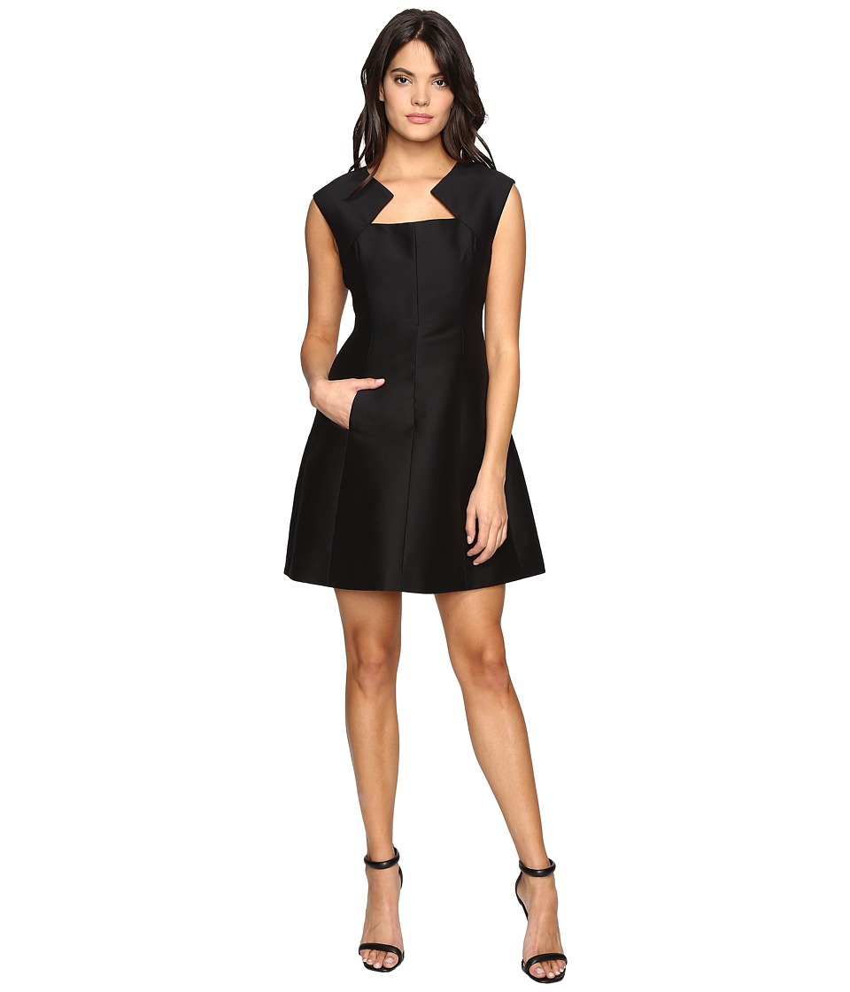 Halston Heritage - Geometric Neck Structured Dress (Black) Women's Dress