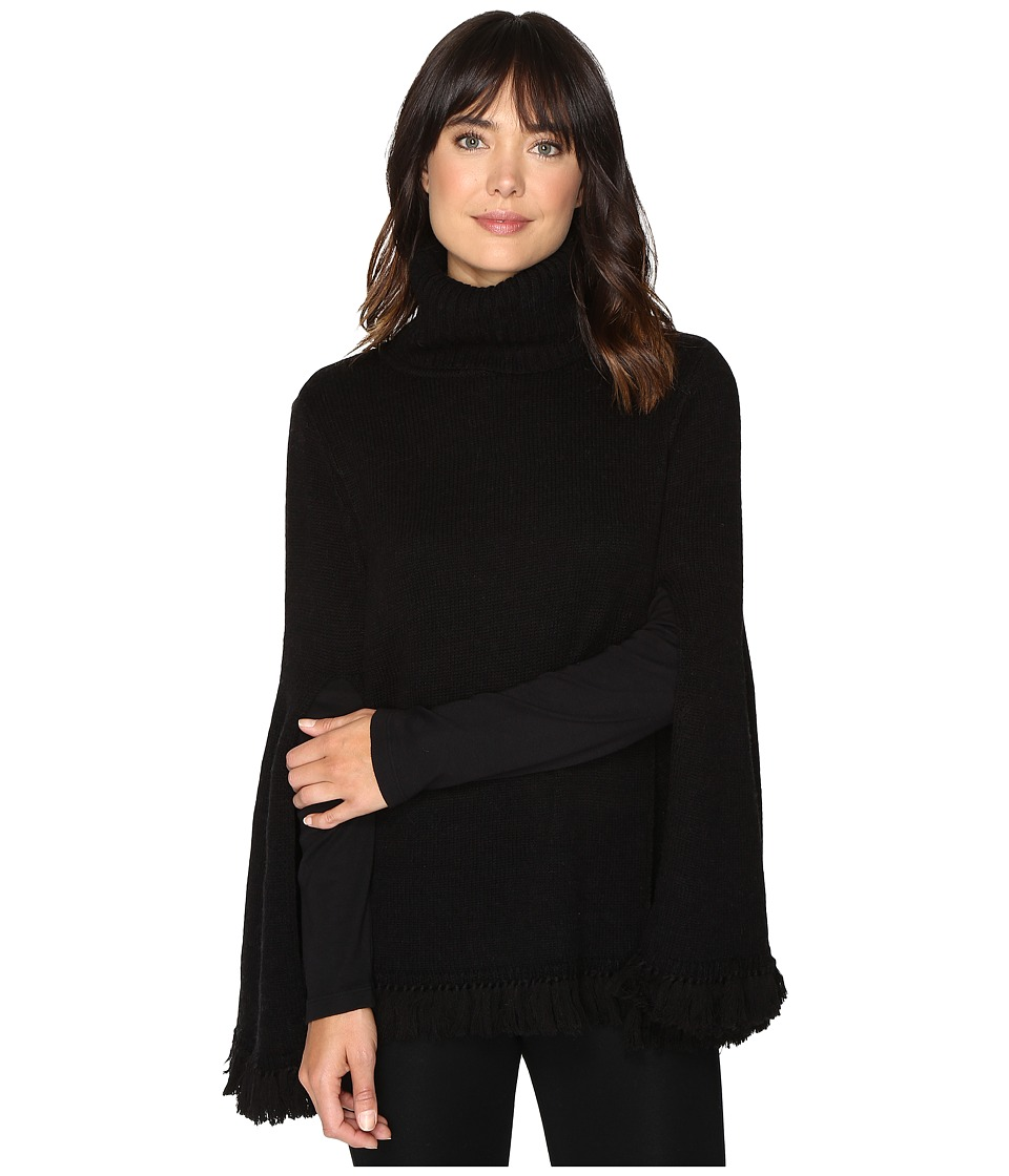 Halston Heritage - Long Slit Sleeve Poncho Sweater with Fringe (Black) Women's Sweater